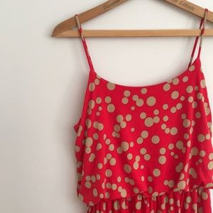 EnFocus 12 Red & Cafe Polka Dre Maxi Dress Pockets